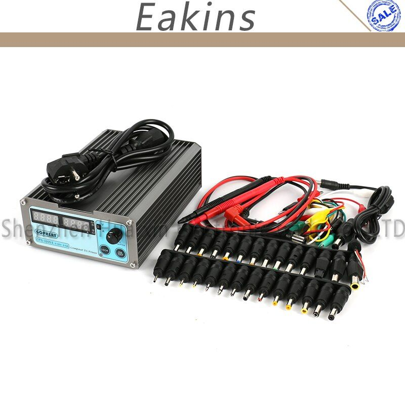 CPS-3205 II Precision Compact Digital DC Power Supply +39pcs DC Jack +10A probe 0~32V 0~5A 0.01V/0.001A for Lab computer repair