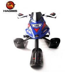 HAGIBIS Snow Sled With Safe Brake, Snowmobile With Automatic Retractable Tow Leash System, Snow Moto Zip Minion Ride On
