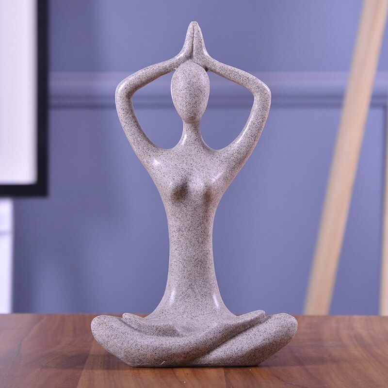 BUF Modern Home Decoration Statue Fashion Abstract Yoga Figure Sculpture Handmade Sandstone Art Collection Gift Ornament