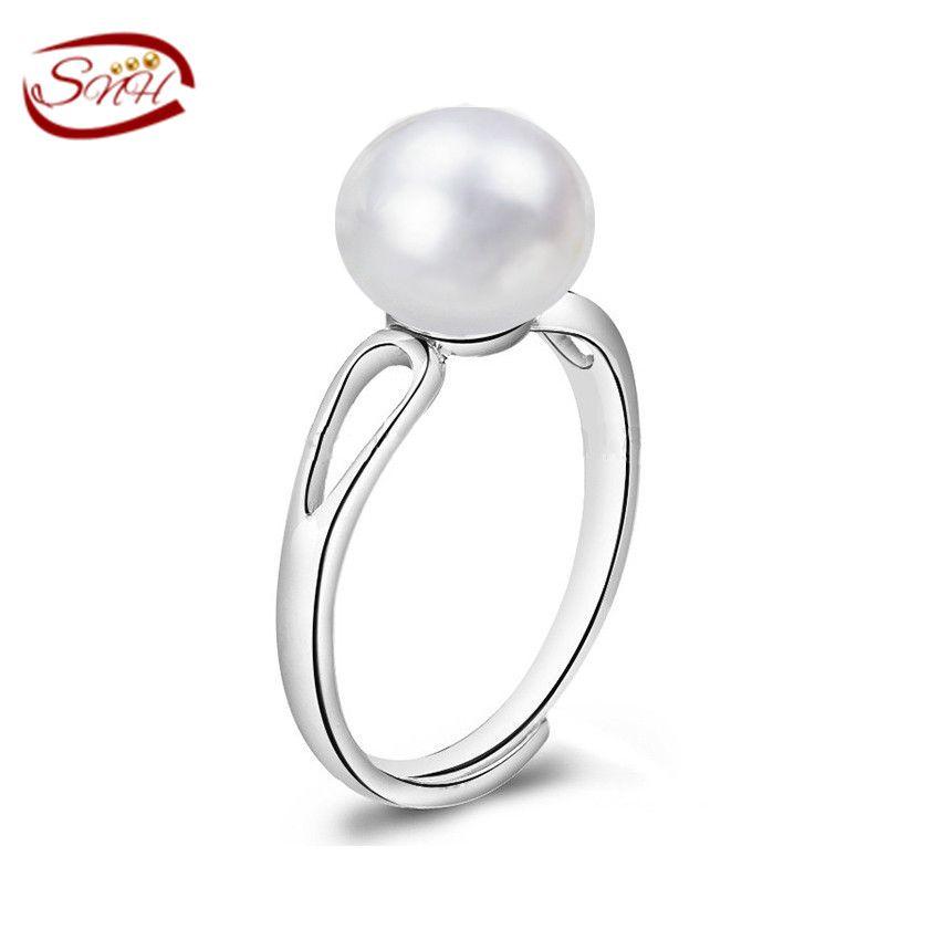 Joyería de perlas, anillos de perlas de agua dulce naturales, boda real perla anillos para las mujeres, anillo de plata 925 como regalo