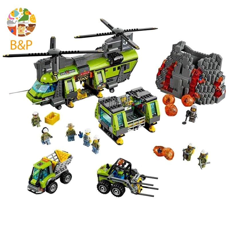 lepin Legoing 60125 1430pcs City Police series The Volcano Heavy-Lift Helicopter Building Block Toy For Children Gift 02087