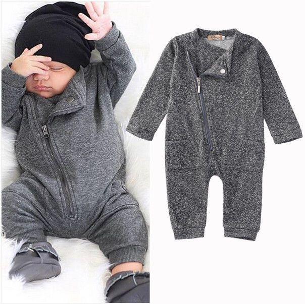 2016 moda Niña bebé mameluco ropa de invierno caliente del otoño bebes playsuit cremallera manga larga mono Vestidos trajes traje