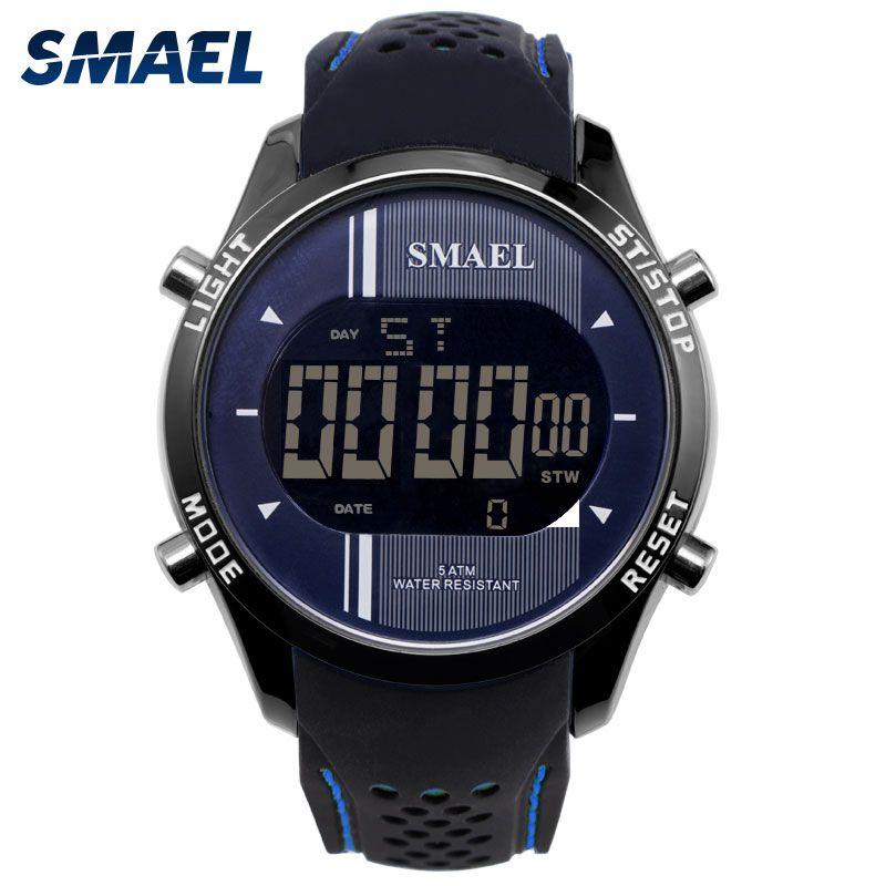 Digital Wristwatches Silicone SMAEL Watch Men Waterproof LED Sports Smart Watch Running Fashion Cool Electronic Watches Man 1283