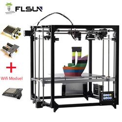 2019 Новый 3d принтер Flsun двойной экструдер большой размер печати 260*260*350 мм автоматическое выравнивание кровать с подогревом TFT Wifi