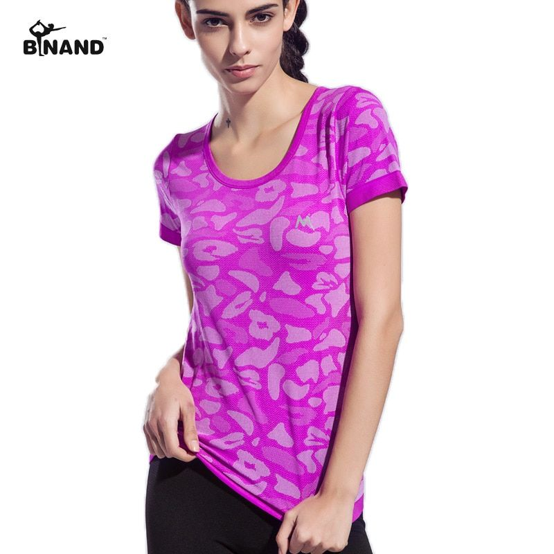 BINAND Camouflage Color Women Sports Yoga Shirt Breathable Running Exercises <font><b>Fitness</b></font> T-shirt Quick Dry Tops Short Sleeve Tees