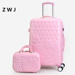 2 PCS/ENSEMBLE Belle 20 24 28 pouce avec 14 pouces sac Cosmétique bonjour Kitty bagages fille Femmes et enfants KT chat Voyage cas
