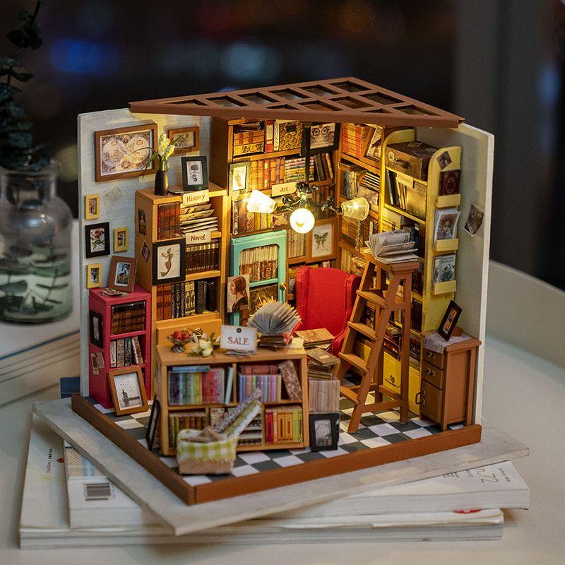 Rolife Home Decor Figurine DIY Sam Study Room Wood Miniature Model Kits Decoration Dollhouse Birthday Gift for Girl DG102
