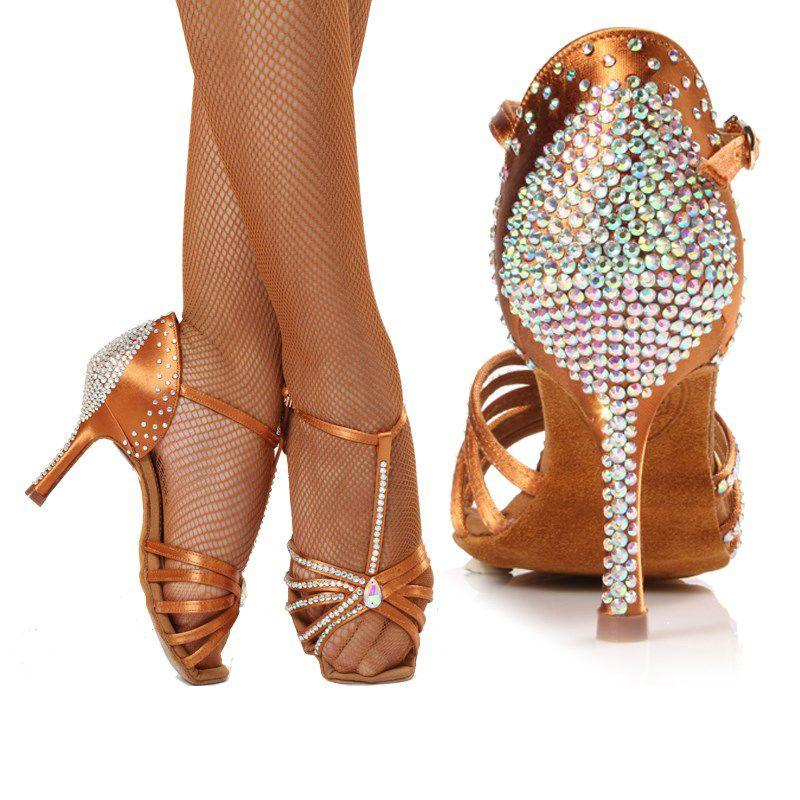 Turnschuhe Standard Tanzschuhe Frauen Marke Party Ballsaal Latin Schuh Hohe Qualität Tanzen Mit Diamant Braun Rabatt BD 217z Heißer