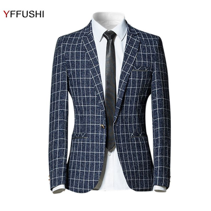 YFFUSHI New Arrival Men Suit Jacket 2017 Classic Black Navy Grey Plaid Jacket Masculino Fashion Casual Style Coat England