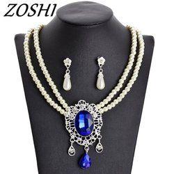 Zoshi 2019 Mutiara Imitasi Pengantin Perhiasan Set untuk Wanita Warna Perak Rhinestone Kalung Anting-Anting Set Perhiasan Pengantin Pernikahan