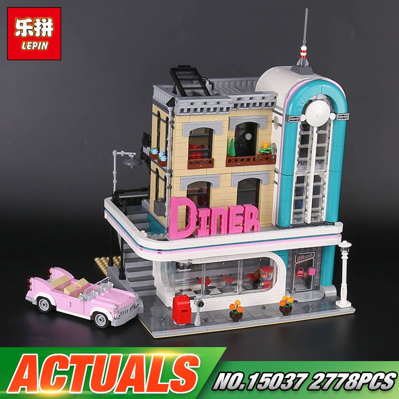 In stock Lepin 15037 2778Pcs Streetview Series The 10260 Downtown Diner Set Building Blocks Bricks Funny Toys As Christmas Gifts
