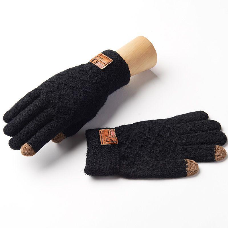 REALBY Men's Winter Gloves Warm Wrist touch Screen Glove Luvas de inverno Male Mitaine HommeThermal Warm Black Gloves Mittens