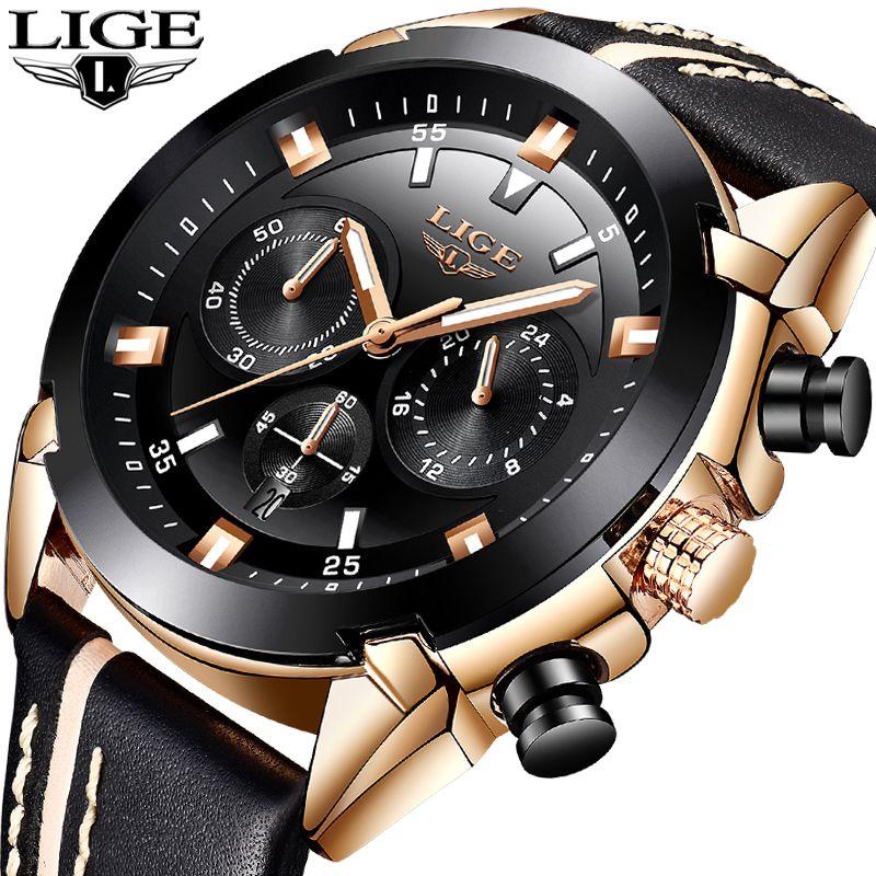 2018 LIGE Mode Herren Uhren Top Brand Luxus 24 stunde Datum Quarzuhr Mann Leder Sport Armbanduhr Männer Wasserdicht uhr + Box