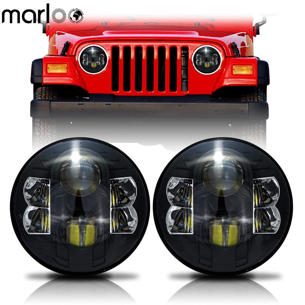 Marloo 2X 7 Inch 80W H4 LED Headlights Daymaker Wrangler 7