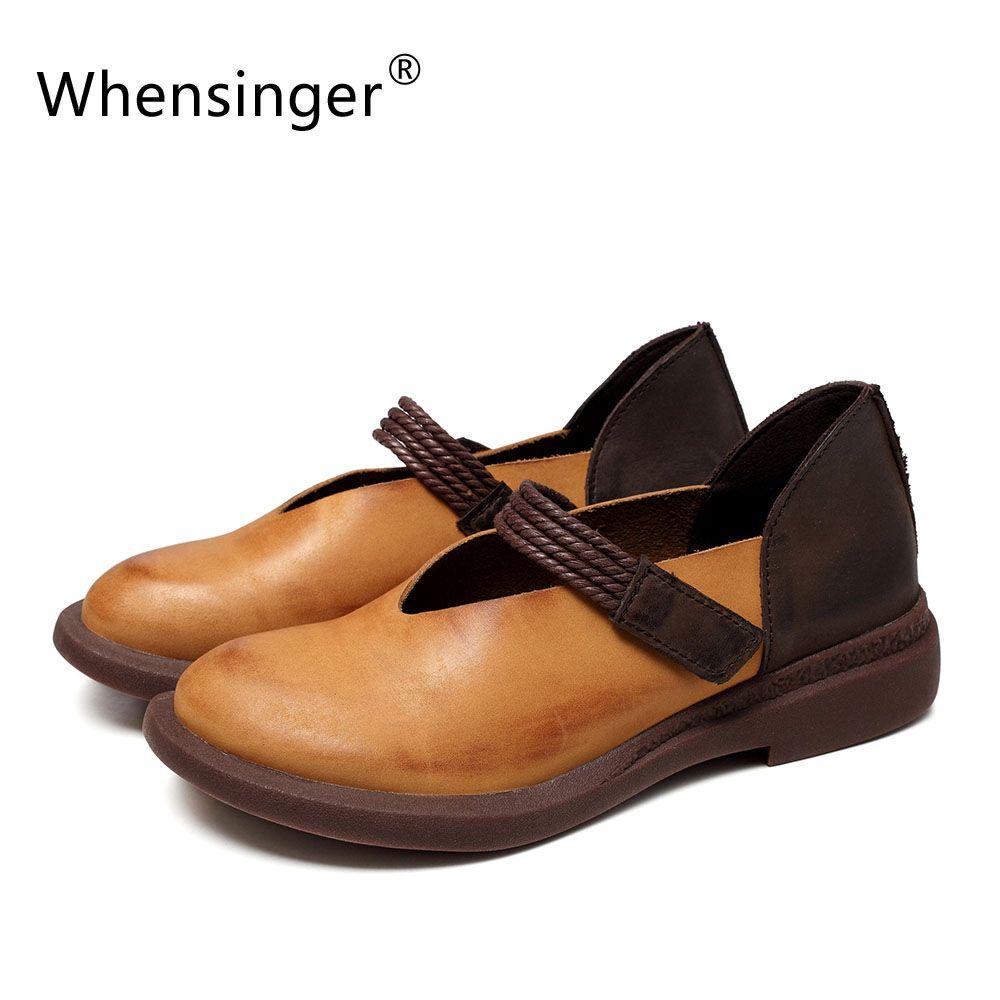 Whensinger-2017 Nouveau Automne Femmes Chaussures En Cuir Véritable Couleurs Mélangées Crochet et Boucle 7892