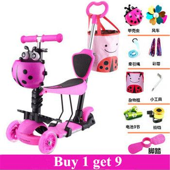 5 in 1 baby tricycle scooter with adjust handle bar and PU seat flashing wheels Buy 1 get 9