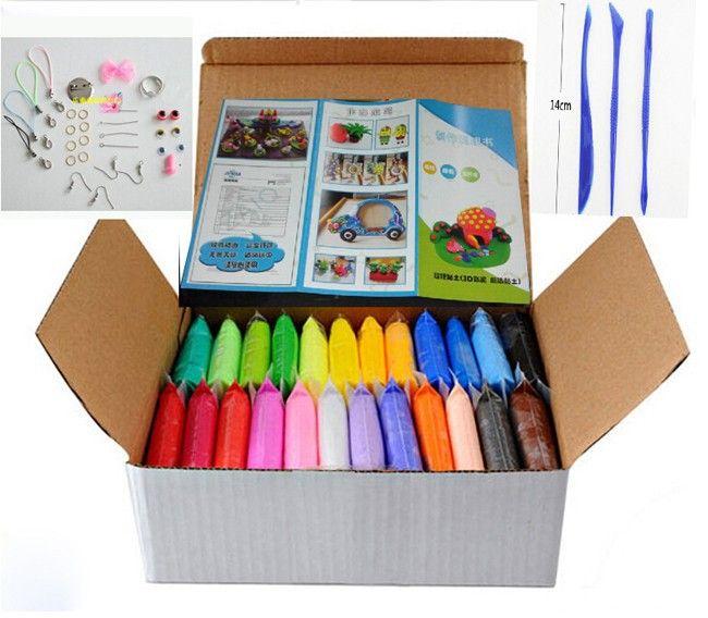 Nouveau 24 couleurs 24 pièces/ensemble pâte à modeler polymère souple avec des outils bon paquet jouets spéciaux bricolage pâte à modeler en pâte polymère.