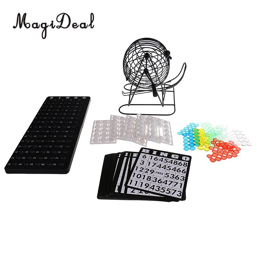 Classic Bingo Cage Game with 75 Ball 150 Token Marker 18 Card Christmas Gift for Club Pub Family Camping Hiking Games Supplies