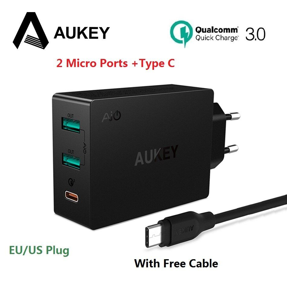 AUKEY Quick Charge 3.0 USB Type C Quick Charger Adapter for Samsung Galaxy S8 LG g5 g6 Xiaomi iPhone Laptop Mobile Phone Charger