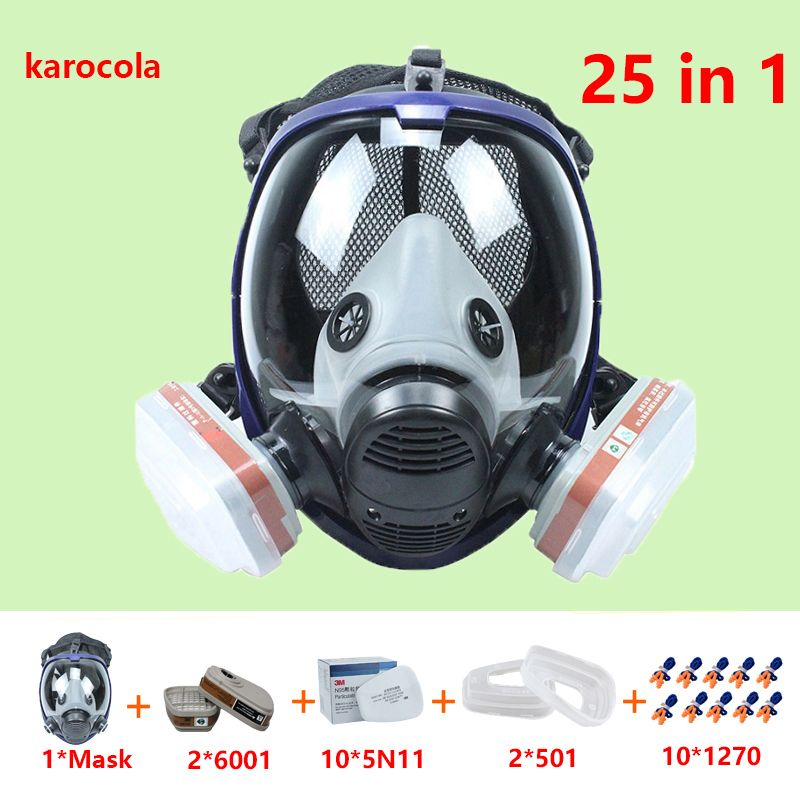 25 in 1 Gas mask 6800 Full face mask 6001 Respirator Paint Pesticide Spray Silicone filter for Laboratory cartridge welding
