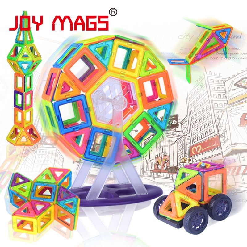 JOIE MAGS Magnétique Designer Bloc 89/102/149 pcs Bâtiment Modèles Toy Éclairez Plastique Modèle Kits Jouets Éducatifs pour Les Tout-petits