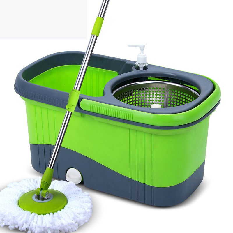 Portable Magic Mop Bucket Stainless Steel Double Drive Hand Pressure Rotating Mop Household Spinning Cleaning Mop Bucket