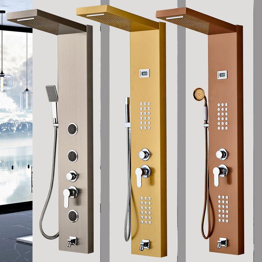 Golden/Brushed Nickel Bathroom Shower Panel Single Handle with Body Massage Jets System Waterfall Rain Shower Column