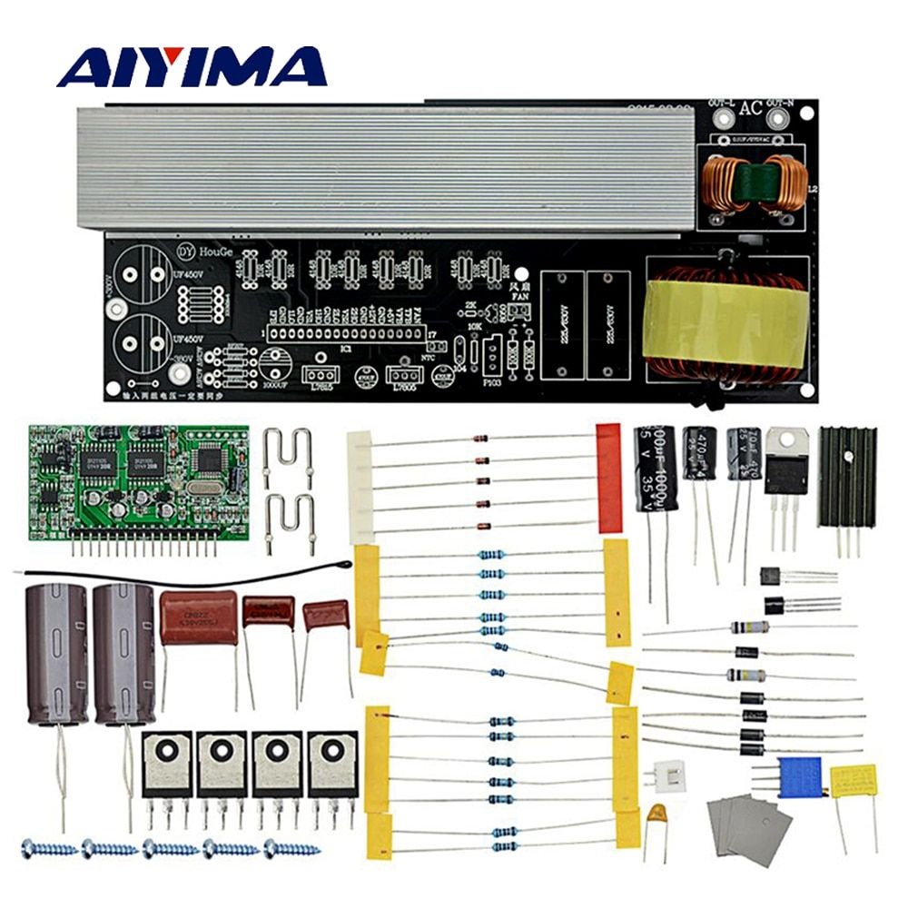 Aiyima 2000W Modified Sine Wave to Pure Sine Wave Inverter Inverter <font><b>Board</b></font> Diy Kits with Heat Sinks DC380V/AC16V to AC220V