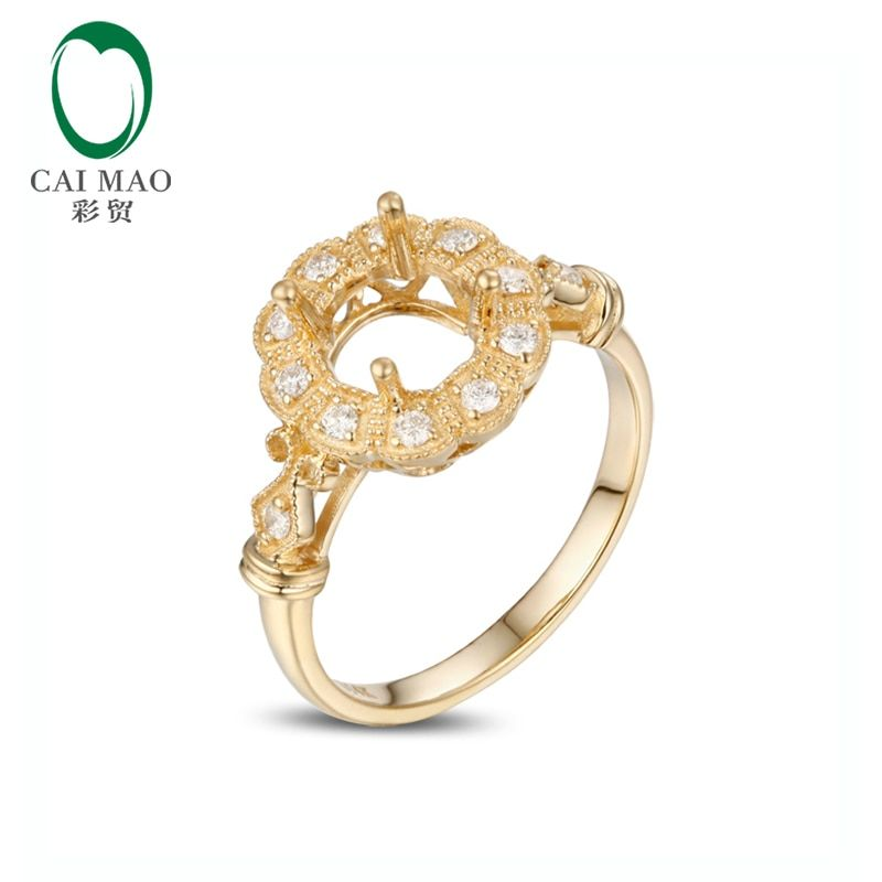 Caimao Vinage 6.5mm Round Milgrain Natural Pave Set 0.19ct Diamond Engagement Semi Mount Ring 14K Gold
