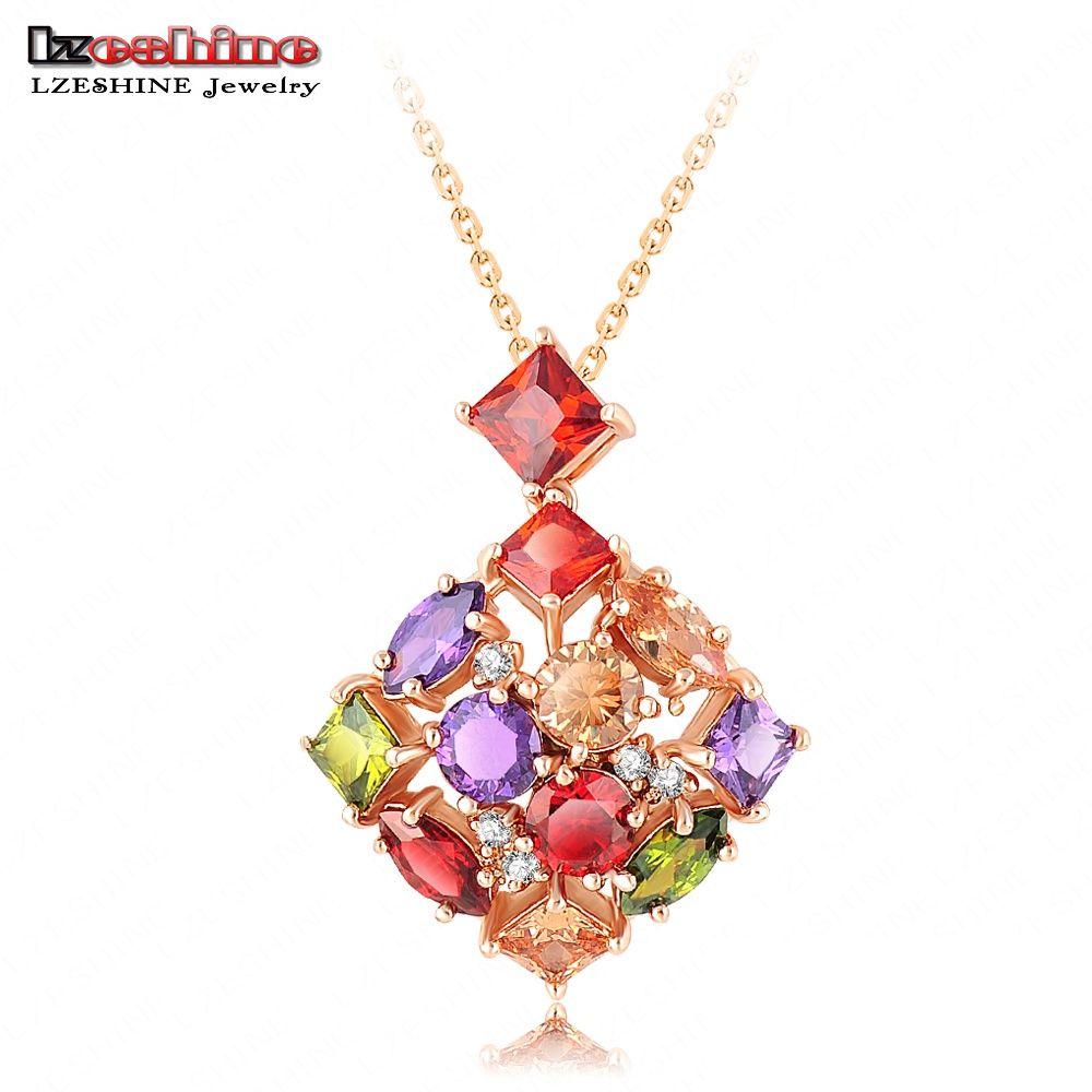 LZESHINE Marca de Calidad Superior de Lujo de La Boda Bijoux de Oro Collares y Colgantes de Color Del Embutido Colorido Circón Pingentes NL0065