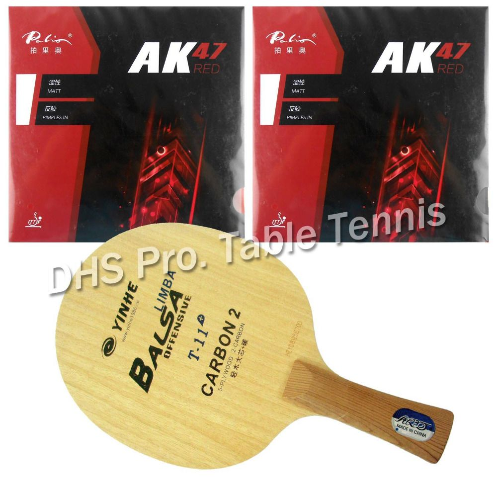 Pro Table Tennis Combo Paddle  Racket Galaxy YINHE T-11+ Blade with 2x Palio AK47 RED H45-47 Rubbers Shakehand long handle FL