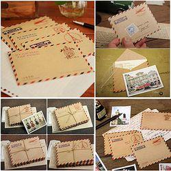 50 pcs/ensemble Mini Rétro Vintage Kraft Papier Enveloppes Mignon de Bande Dessinée Kawaii Papier Coréen Papeterie Cadeau 9.6x7.3 cm