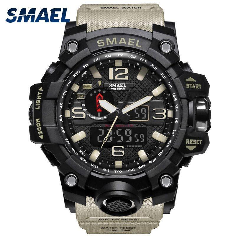 Montre militaire homme 50 m étanche montre-bracelet LED Quartz horloge Sport montre mâle relogios masculino 1545 Sport montre hommes S Shock