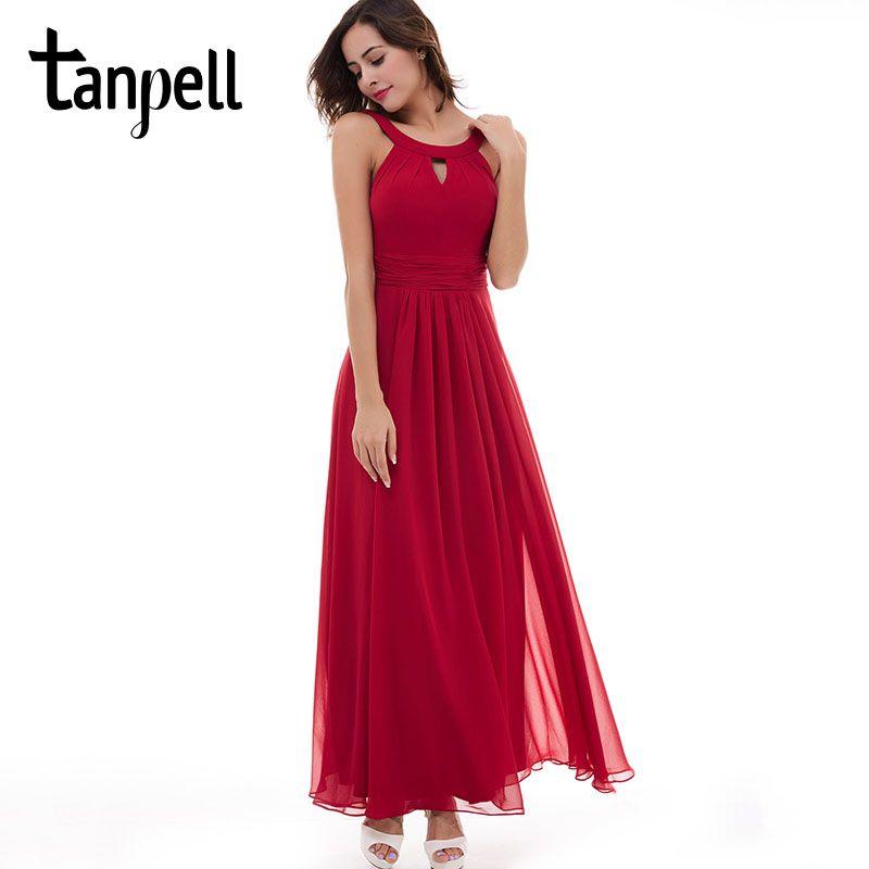 Tanpell scoop evening dress chiffon red sleeveless ruched floor length dress 2017 pink draped zipper up party long evening dress