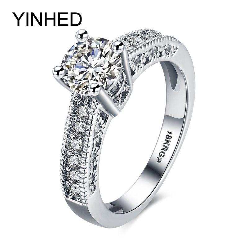 Yinhed белого золота Заполненные кольцо с 18krgp Stamp 7 мм фианит CZ dimaond Обручение Свадебные Кольца для Для женщин ювелирные изделия zr188
