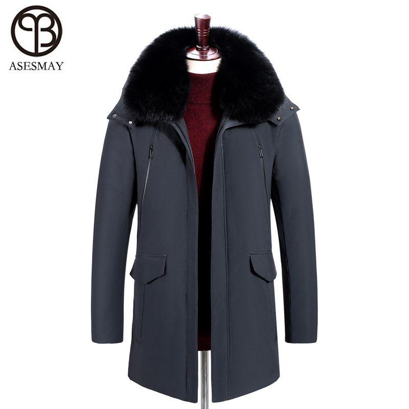 Asesmay 2018 Marke Kleidung Männer Unten Jacke Für Winter Warme Dicke Weiße Ente Unten Gans Feder Parka Natürliche Pelz Outwear mantel