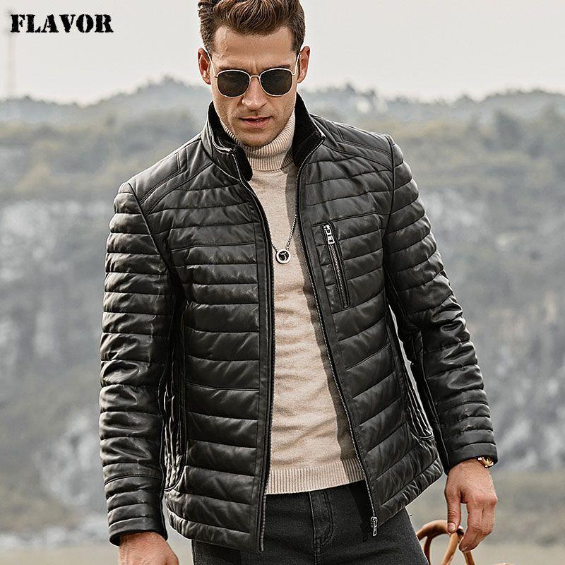 GESCHMACK männer Echt Leder Unten Jacke Männer Echtes Lammfell Winter Warme Leder Mantel mit Abnehmbare Stehenden Schafe Pelz Kragen