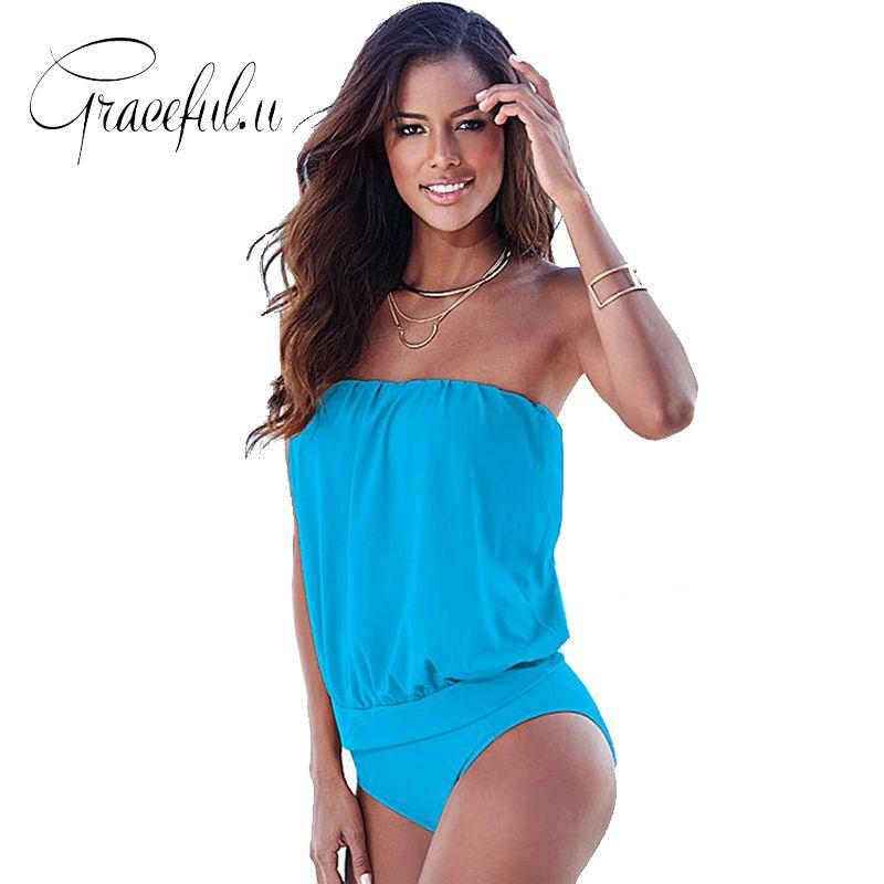 2017 One Piece Swimsuit Tankini Plus Size Swimwear Women Solid Sexy Bandeau Bikini Bathing Suits Vintage Female Beach Swimsuit