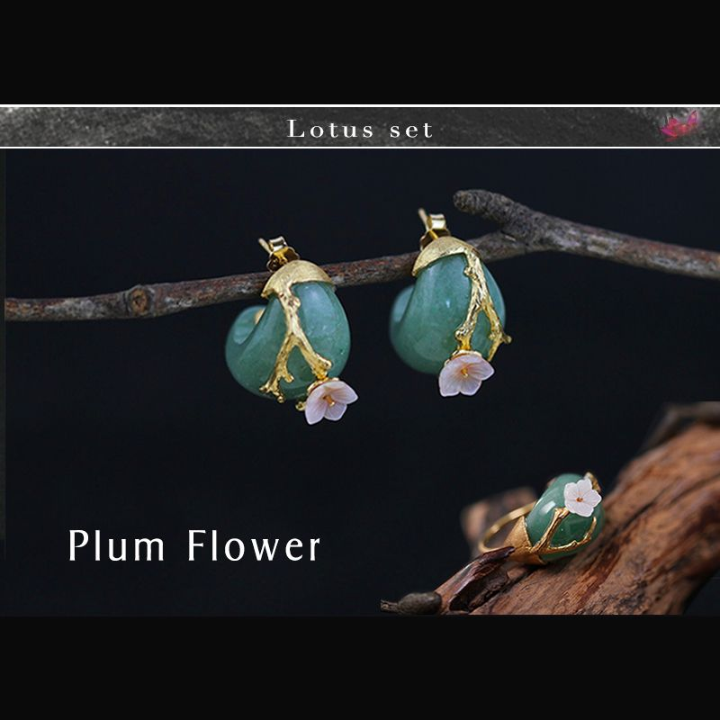 Lotus Fun Real 925 Sterling Silver Natural Stone Creative Handmade Fine Jewelry Plum Flower Jewelry Set with Ring Stud Earring