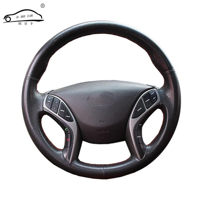 Tresse de volant de voiture en cuir artificiel pour Hyundai Avante i30 2012-2016/housse de direction sur mesure