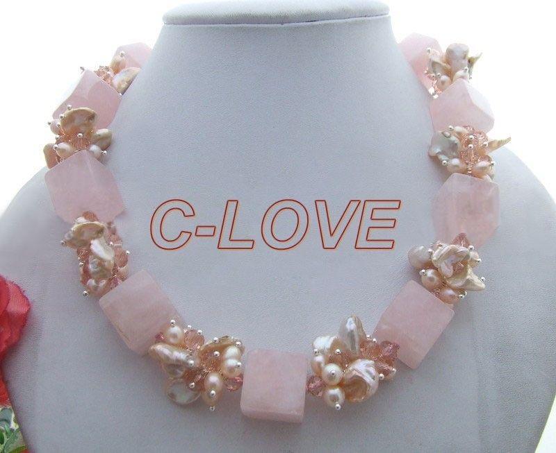 Charme! perle et Rose Cristal et Collier En Cristal expédition libre