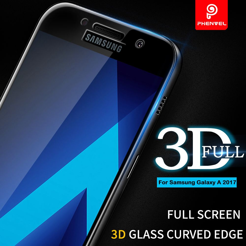 3D Film Glass For Samsung Galaxy A5 2017 Phenvel A8 Plus 2018 Screen protector For Galaxy A3 A5 A7 2017 Tempered Glass Curved