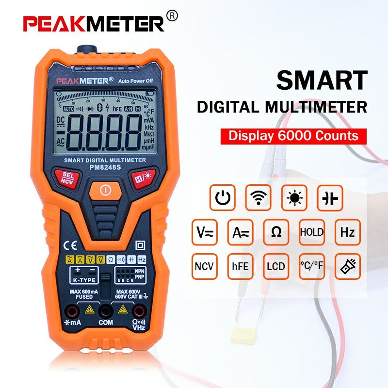 PEAKMETER PM8248S Digital multimeter NCV meter 30~1000Hz capacitance transistor tester with Data hold backlight display