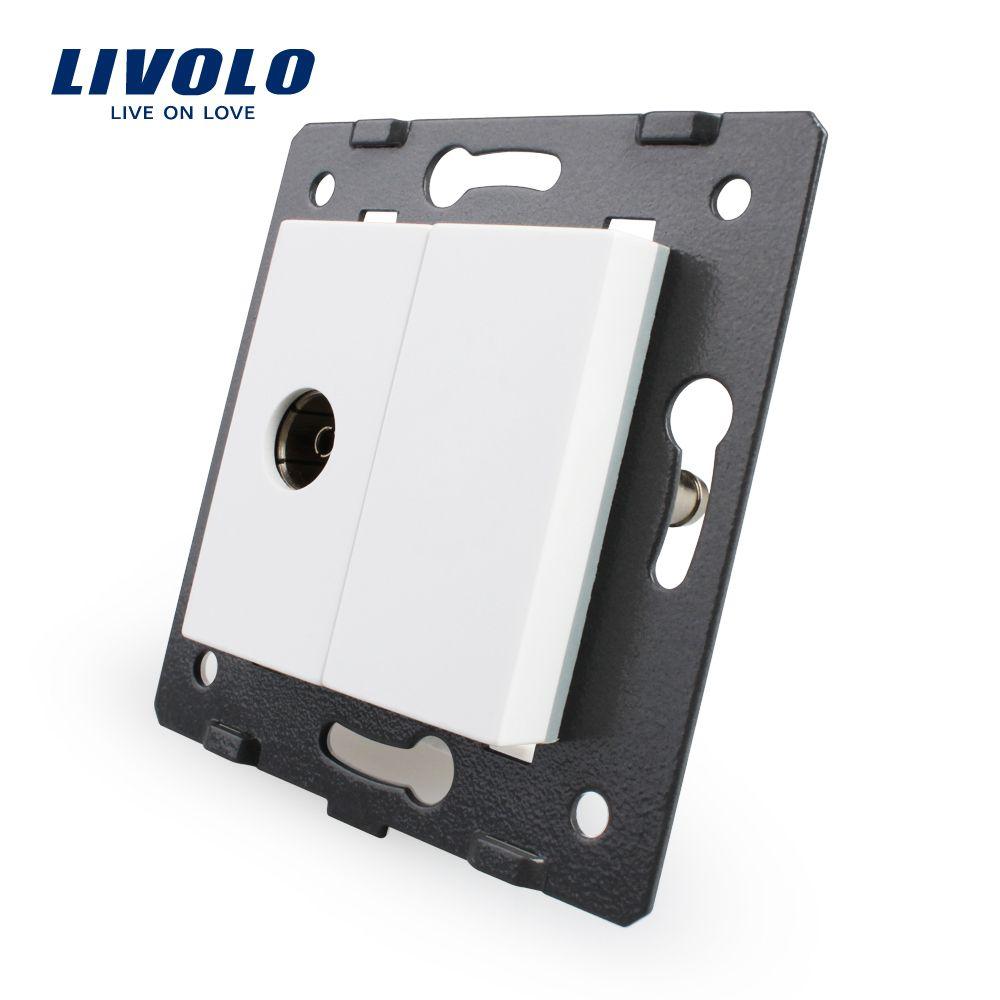 Kostenloser Versand, Livolo Weiße Kunststoff Materialien, EU Standard, DIY Teile, Funktion Schlüssel Für TV Buchse, VL-C7-1V-11