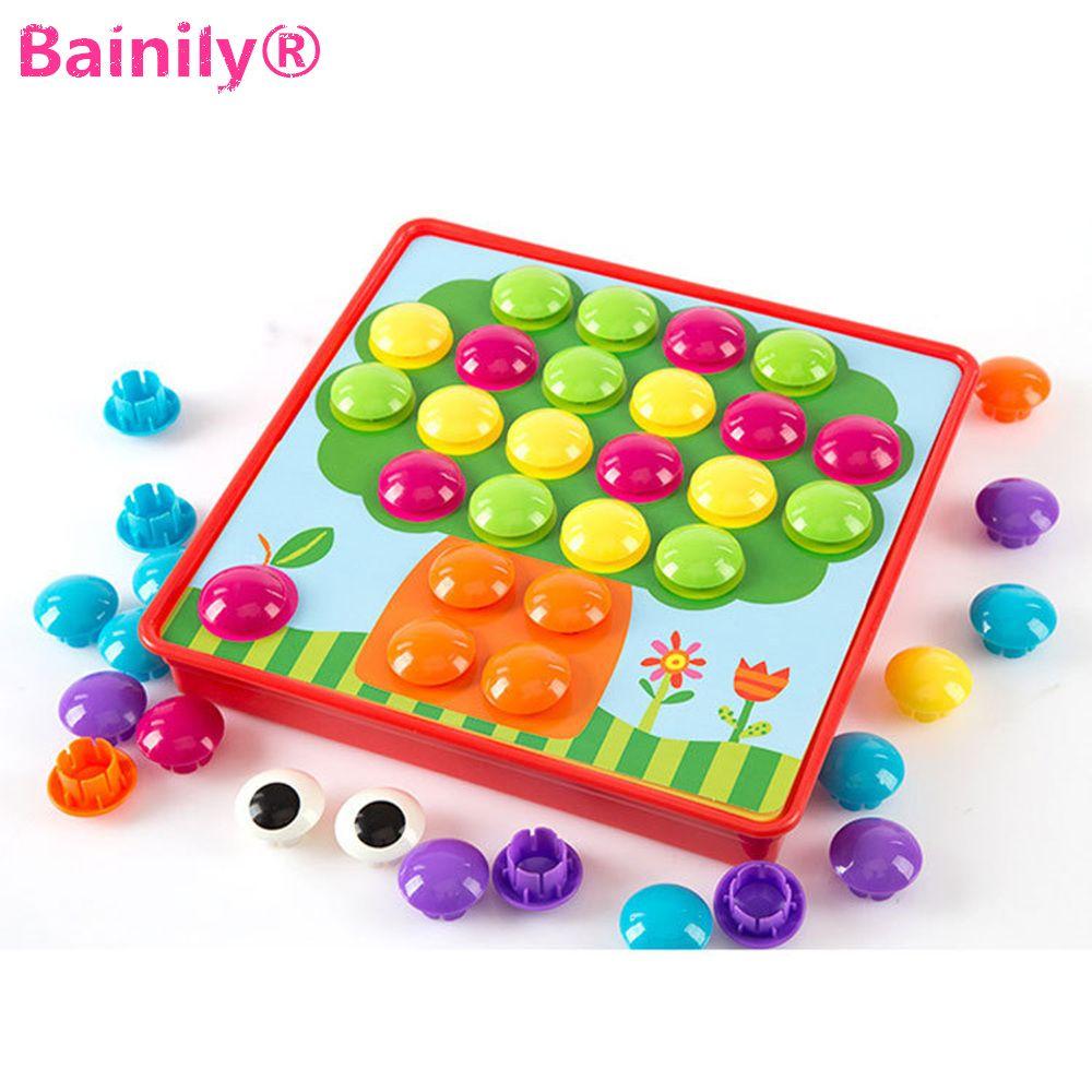 [Bainily] 3D DIY головоломки маленьких детей, чтобы ENLIGHTEN игрушки Кнопка живопись 3D головоломки ногтей гриб гвоздя Родитель -ребенок взаимодействи...