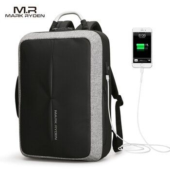 2018 Mark Ryden nuevo USB anti-recarga hombres mochila no clave TSA bloqueo diseño hombres de negocios moda mensaje viaje mochila