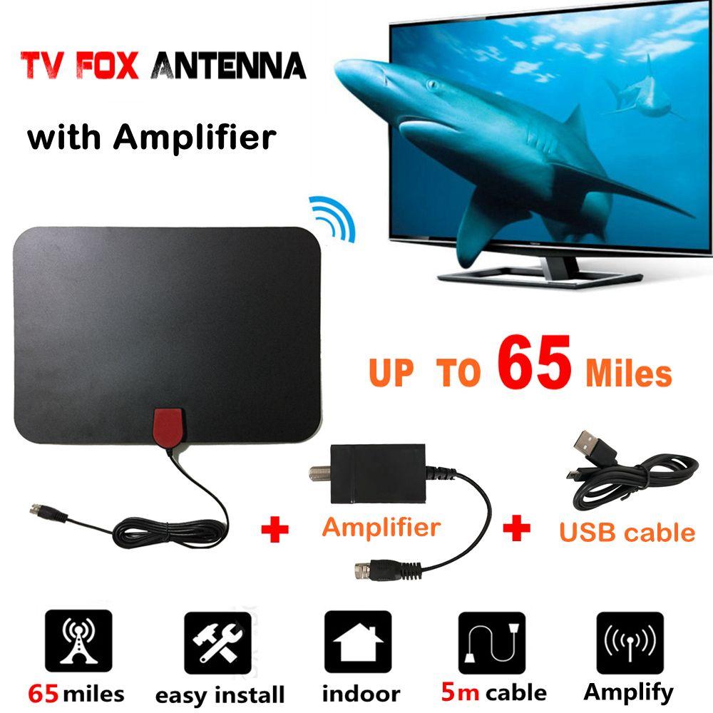 65 Miles Indoor Digital TV Antenna with Signal Amplifier Booster TV Radius <font><b>Surf</b></font> HD TV Fox Antena Interior Antennas Aerial DVB-T2