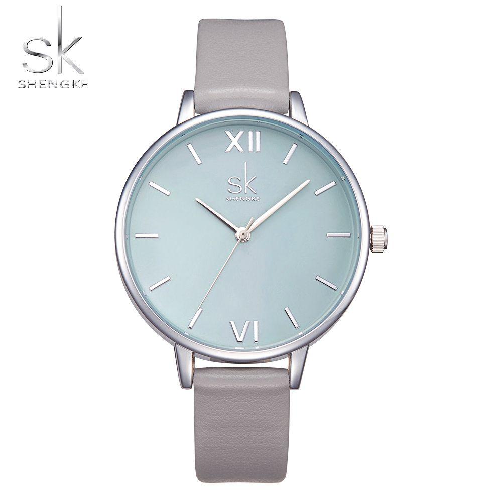 Shengke Watches Women Fashion Watch 2017 New Elegant Dress Leather Strap Ultra Slim Wrist Watch <font><b>Montre</b></font> Femme Reloj Mujer 2017