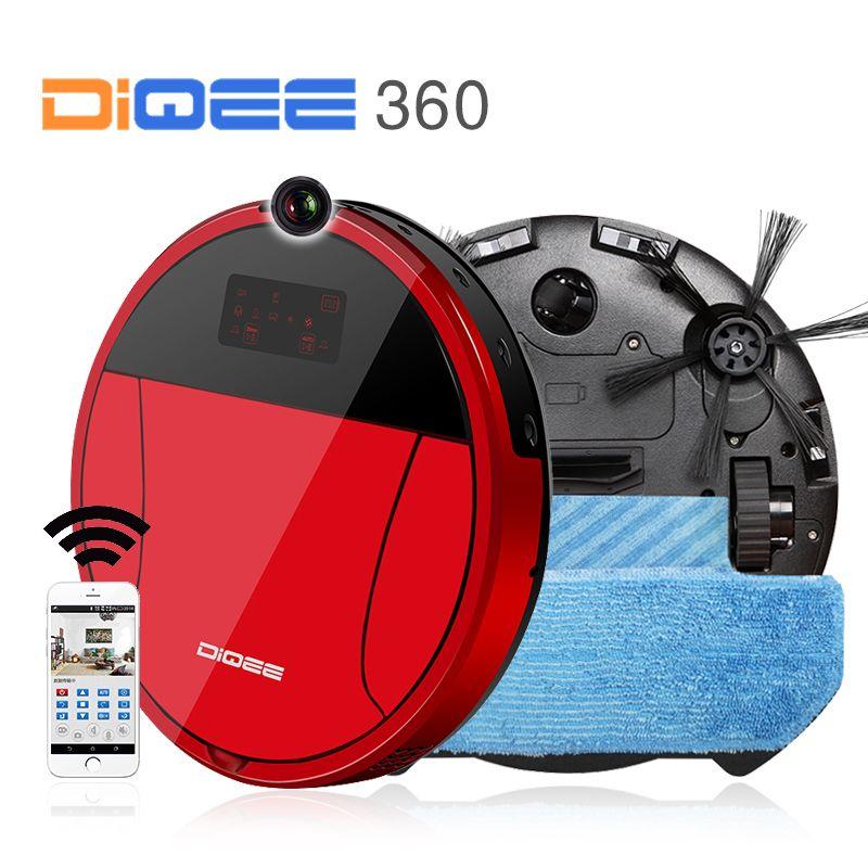 DIQEE 360 Smart Roboter-staubsauger für Home drahtlose Kehr Staub Gyro navigation Geplant Reinigen Telefon App control kamera