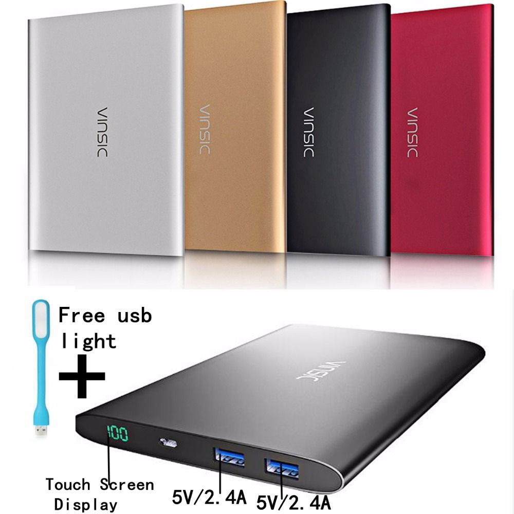 Vinsic 20000mah Power Bank 20000 mah 2.4A 2 Ports 4A Powerbank for Xiomi Xiaomi Huawei Samsung iPhone Phones 18 Months Warranty